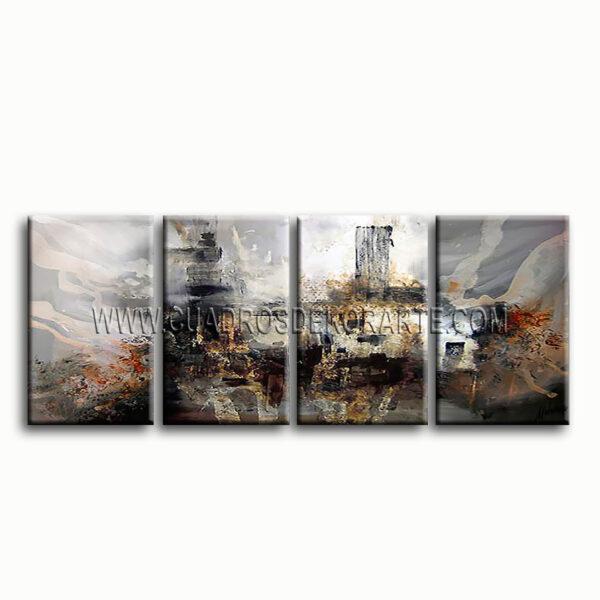 cuadros modernos el inicio triptico gris, blanco y ocre