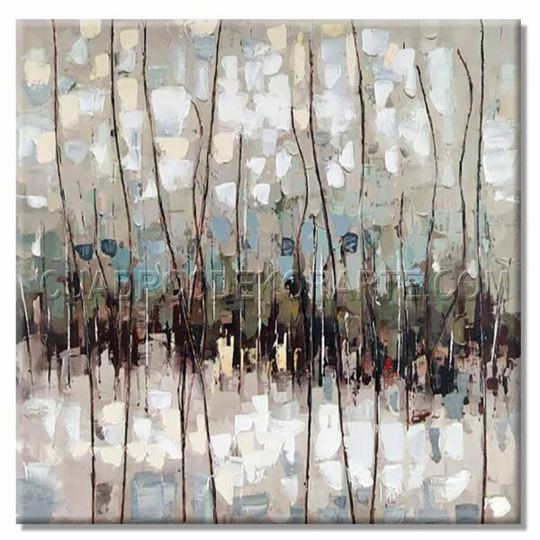cuadros modernos sendero en medida de 100x100cm. gris, azul y blanco