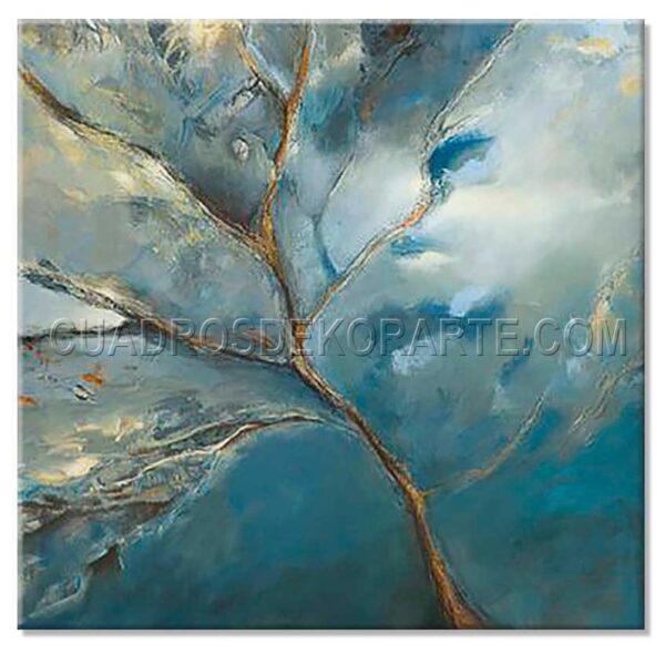 cuadros modernos Zul medida de 100x100cm. azul y blanco