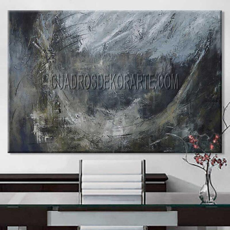 Pinturas abstractas para oficina Concentro colores gris y ocre