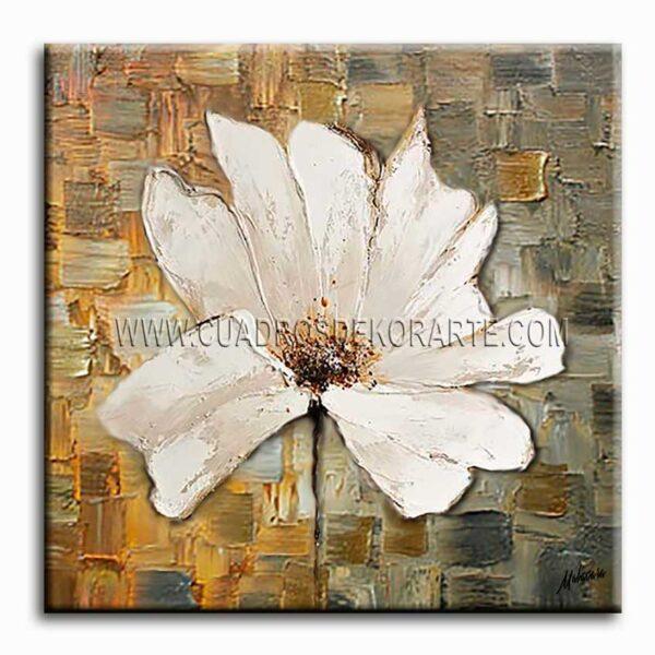 cuadros decorativos pintura flor blanca colores ocre, gris y blanco