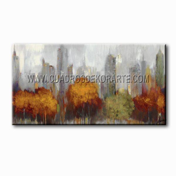 cuadros decorativos nueva york gris, ocre y naranja
