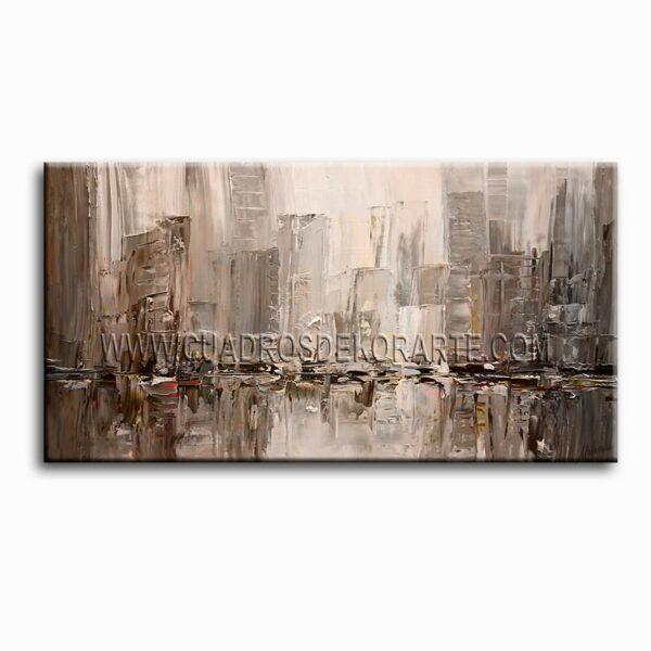 cuadros modernos Reflejo Citadino colores gris y ocre
