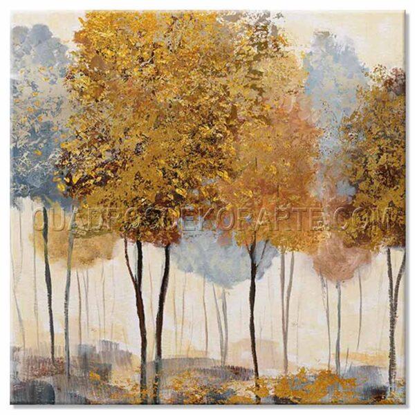 cuadros modernos pintura tres árboles ocre y azul