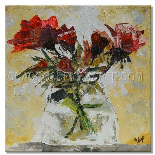 pinturas impresionistas Rosa Roja en medida de 100x100cm. pintado a mano
