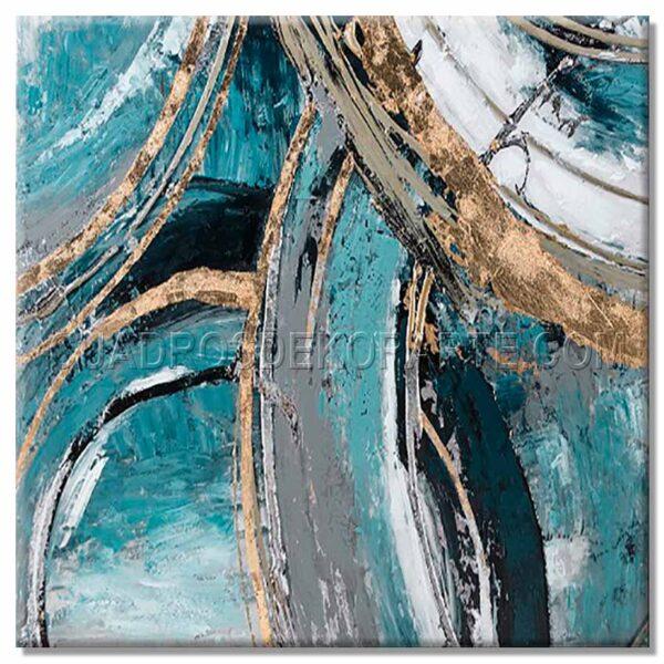 cuadros modernos veul en medida de 100x100cm. azul y dorado