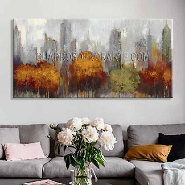 Cuadros decorativos para sala Nueva York colores gris y ocre