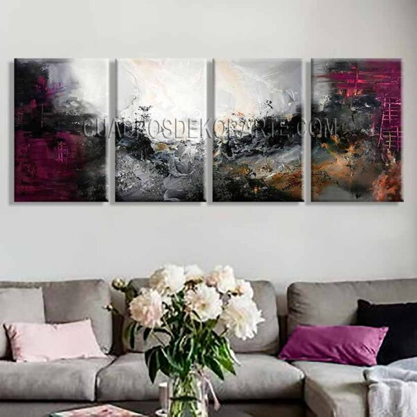 Cuadros modernos para sala Motivación Gris trípticos colores gris negro