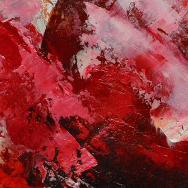 acercamiento del cuadro cerezas en medida de 120x80cm. pintado a mano