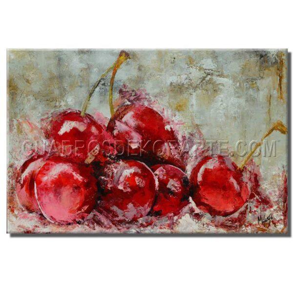 cuadros decorativos cerezas estilo impresionista en colores ocre y rojo