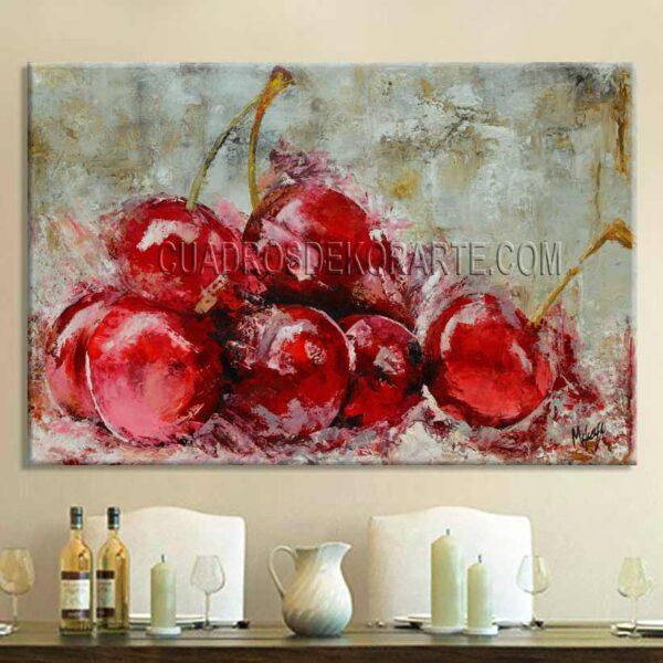 cuadros decorativos para comedor Cerezas estilo impresionista colores rojo y ocre