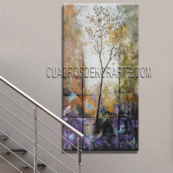 Cuadros modernos pintura Árbol Arcoiris para escaleras
