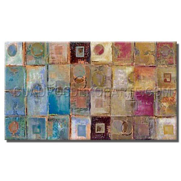 cuadros modernos Alterna en medida de 120x80cm. ocre, azul y malva.