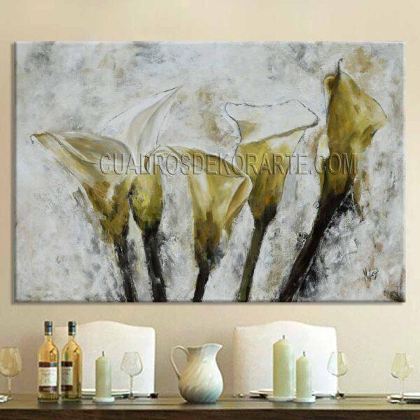 Pintura flores alcatraces para comedor o salaen medida de 120x80cm. pintada a mano