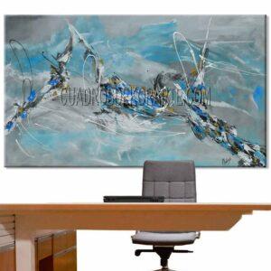 Cuadros decorativos para oficina Plata Ascendente colores gris y ocre