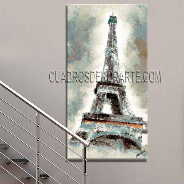 pinturas impresionistas para escaleras Eiffel colores gris y azul