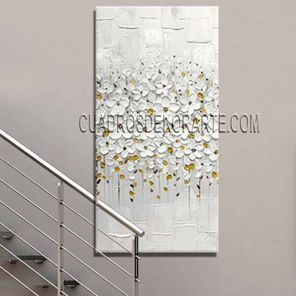 Cuadros modernos para escaleras pintura Flores blancas gris y dorado