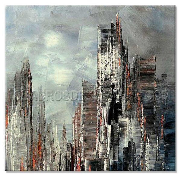 cuadros modernos horizonte en colores azul y gris
