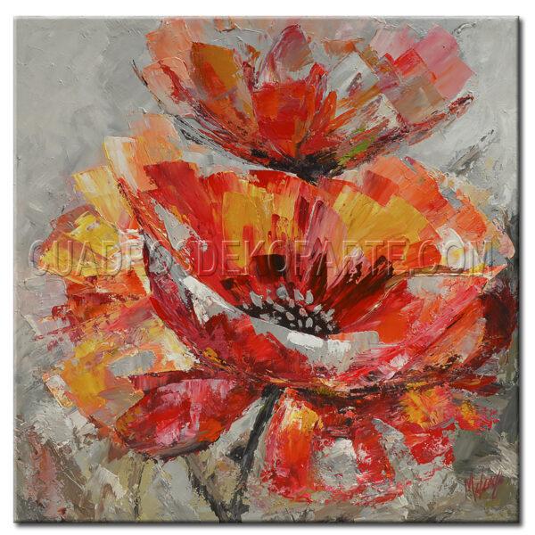 pinturas impresionistas flores rojas colores rojo, amarillo y gris