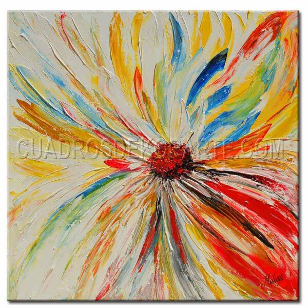 cuadros decorativos pintura flor margarita colores rojo, blanco y ocre