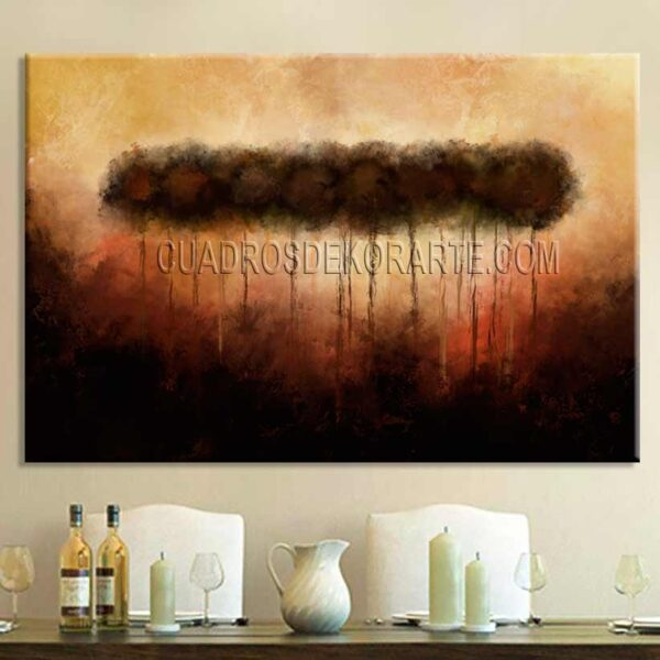 Cuadros modernos pintura Árboles Ocaso ocre café y naranja