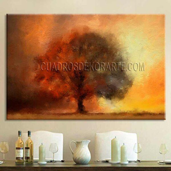 Pinturas impresionistas Otoño para sala comedor colores ocre naranja