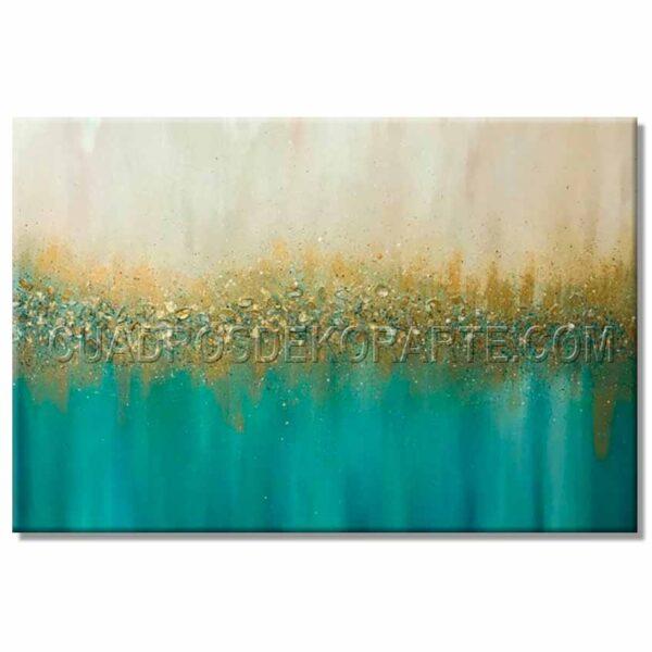 cuadros modernos marino en medida de 120x80cm. azul, ocre y dorado.