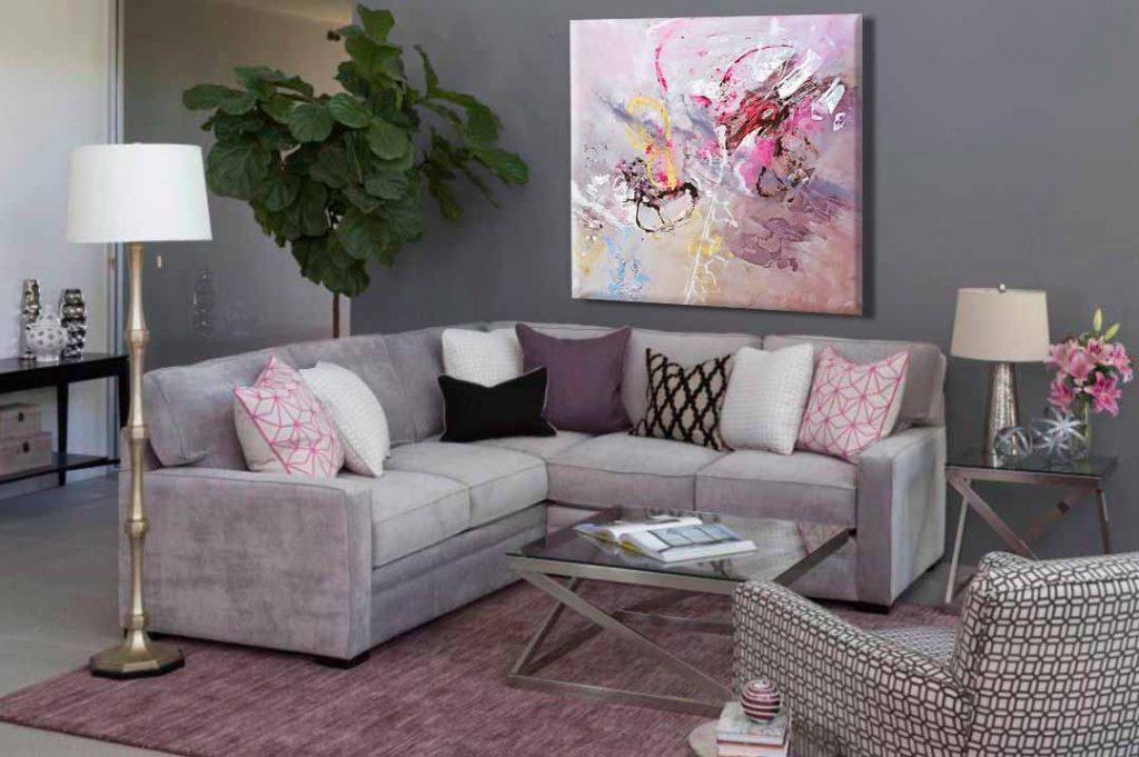 Pintura abstracta moderna para sala modelo Conjunción