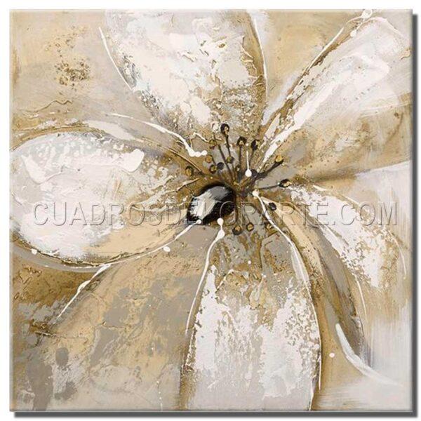 cuadros decorativos pintura floram 1 en colores beige y blanco