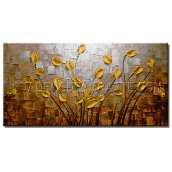 cuadro decorativo flores matinales 2 en medida de 120x60cm. pintado a mano técnica impasto