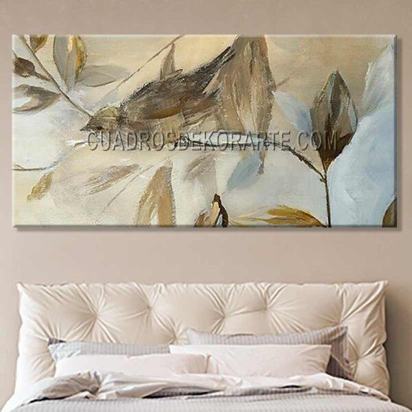 Pinturas impresionistas para recámara Jilguero colores ocre, blanco y gris