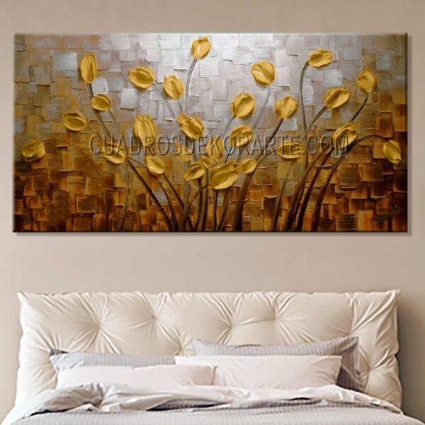 cuadro decorativo para recamara Flores matinales 2 en medida de 120x60cm. pintado a mano técnica impasto