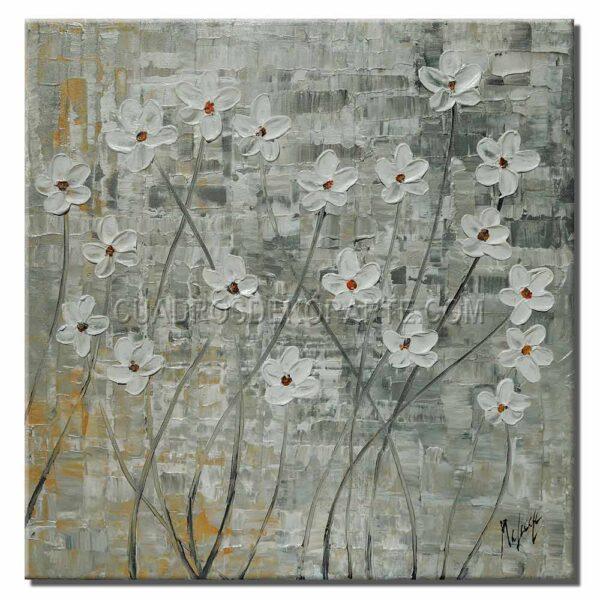 cuadros decorativos pintura flores blancas colores gris y blanco