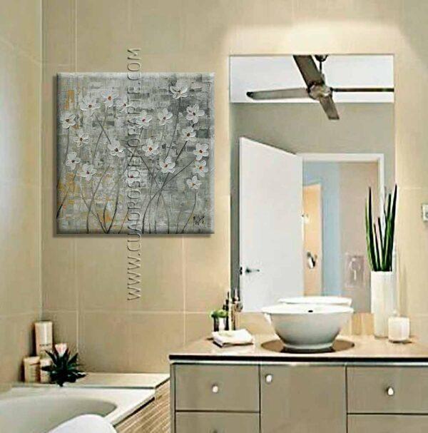 Cuadros para baño pintura Flores blancas 2 colores ocre y gris