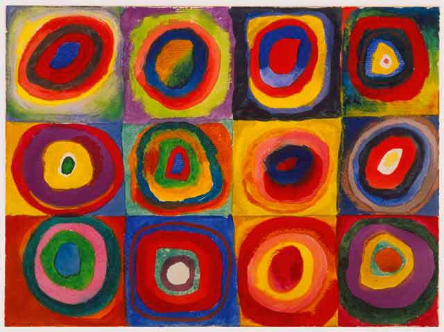 Pintura abstracta Estudio de color cuadrados con círculos concéntricos