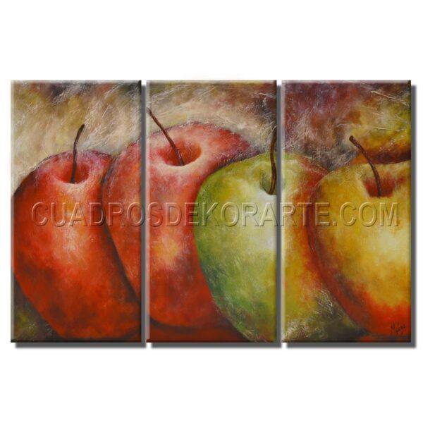 Cuadros decorativos Manzanas de color en tonos rojos, verdes y ocres