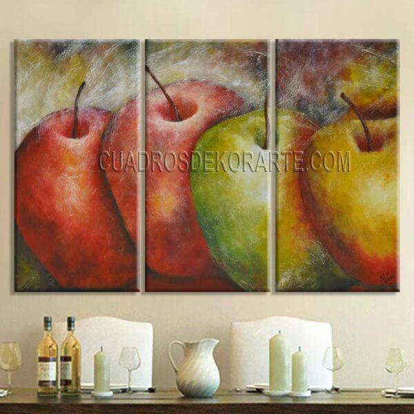 Cuadros decorativos para comedor Manzanas de Color colores rojo, verde y ocre