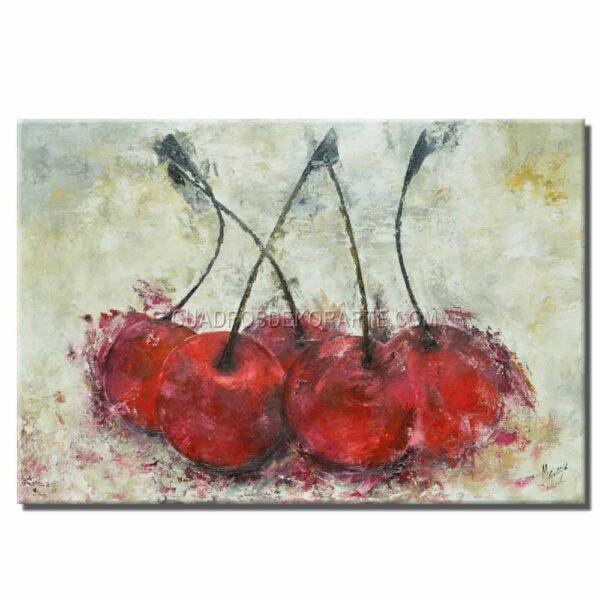 cuadros decorativos cerezas 2 estilo impresionista colores blanco, ocre y rojo