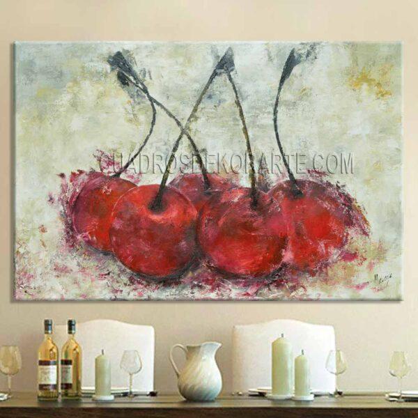 cuadros decorativos para comedor Cerezas 2 estilo impresionista colores rojo ocre