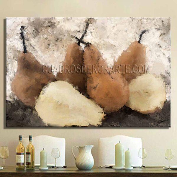 cuadros decorativos para comedor Peras estilo impresionista colores gris y ocre