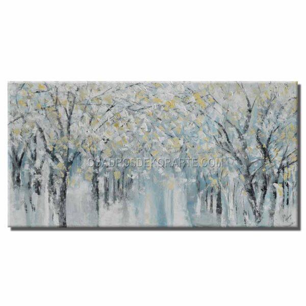 cuadros decorativos pintura arboledas 2 en colores azul. gris y ocre