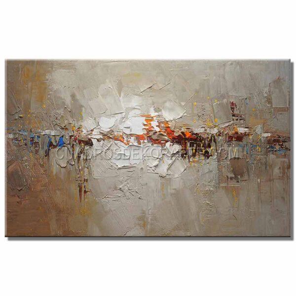cuadros abstractos dalt colores ocre y blanco
