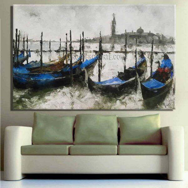 pinturas impresionistas para sala Venecia colores blanco, gris y azul