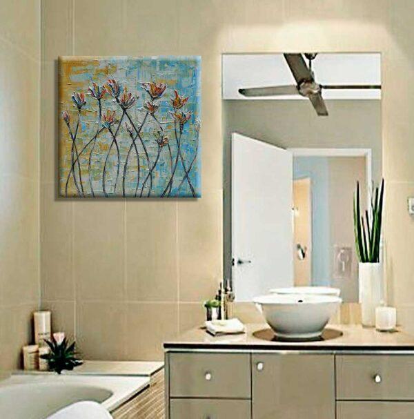 Cuadros para baño Flores de colores decoración azul ocre