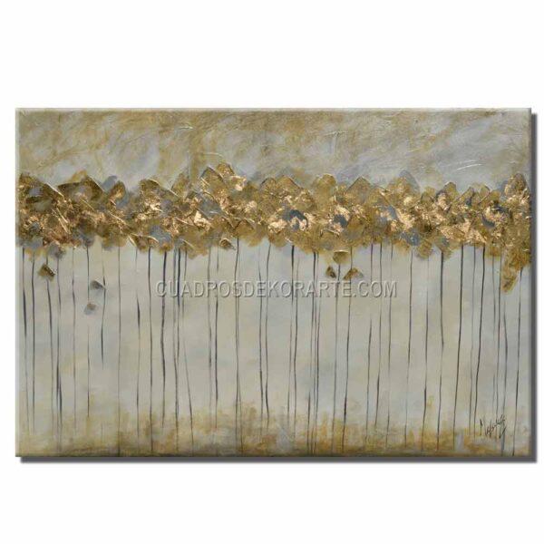 Cuadros decorativos pintura Arboles dorados en medida de 120x80cm. beige y dorado