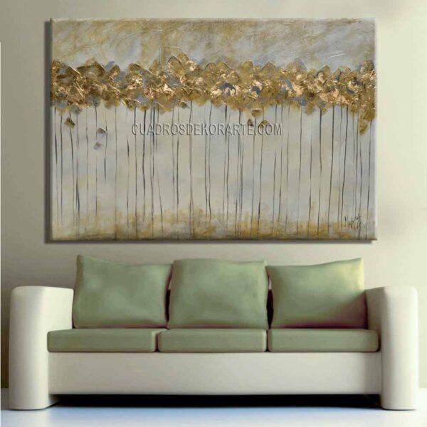 cuadros decorativos para sala pintura Árboles Dorados gris y dorado