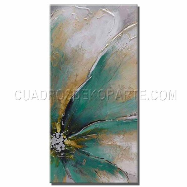 cuadros decorativos pintura flor acua colores ocre y verde