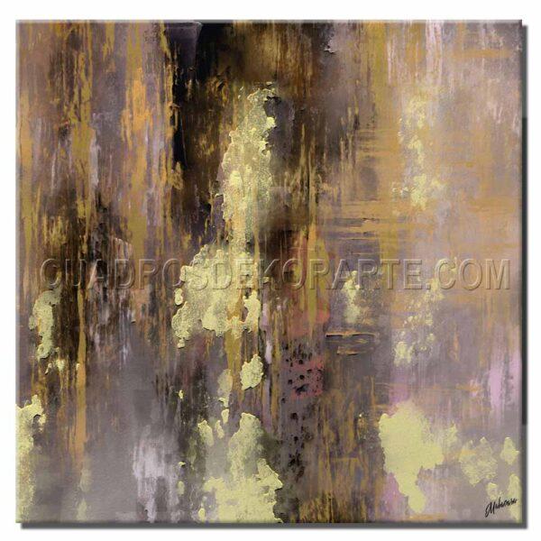 Cuadros modernos purple rain pintado a mano violeta y dorado
