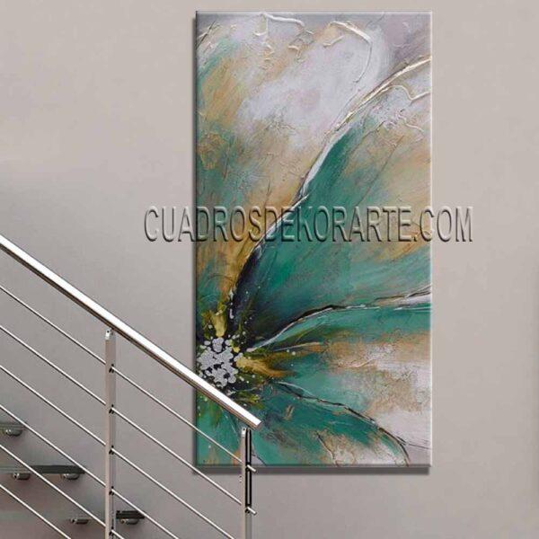 Cuadros para escaleras pintura Flor Acua colores ocre