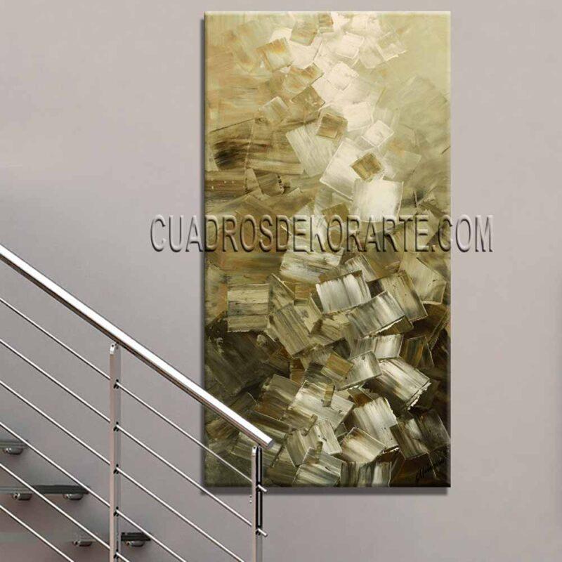 Pinturas abstractas Upcubes colores blanco y ocre